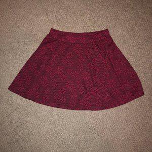Maroon Flowered Skater Skirt